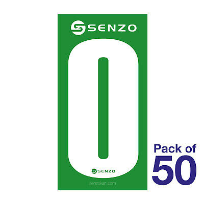 0 Number Pack of 50 White on Green Senzo