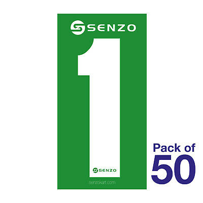 1 Number Pack of 50 White on Green Senzo
