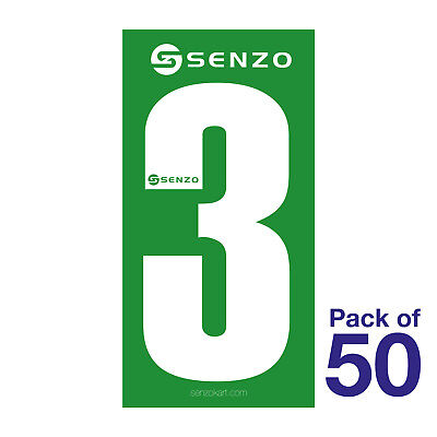 3 Number Pack of 50 White on Green Senzo