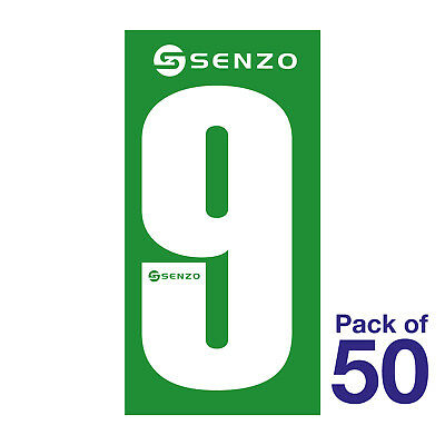 9 Number Pack of 50 White on Green Senzo