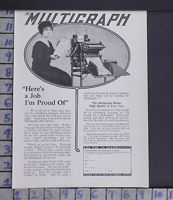 1916 Multigraph Copier Business Secretary Printer Cleveland Vintage Ad  Zj69