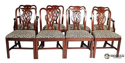 8 Solid Mahogany Baker Furniture Chippendale Style Chairs with Pretzel Backs