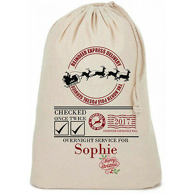Personalised Santa Sack Merry Christmas Bag Gift Stocking Family Kids Pet Sacks