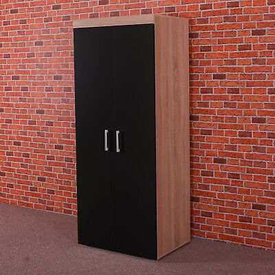2 Door Double Wardrobe in Black & Sonoma Oak Effect - Bedroom Furniture Cupboard
