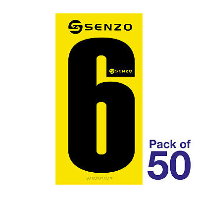 6 Number Pack of 50 Black on Yellow Senzo