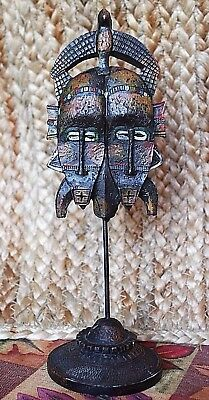 """Unusual 9"""" Double Tribal Mask Hand-Painted  11/9*75"""