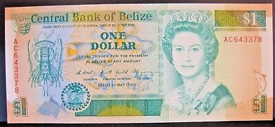1990, Belize, Central Bank of, One Dollar Note, CU Nice   ** FREE U.S SHIPPING**