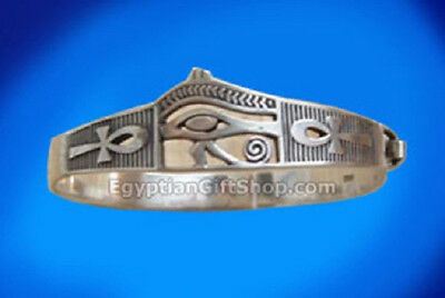 Egyptian Eye of Horus / Ankh Sterling Silver Bracelet - Egypt Bracelet