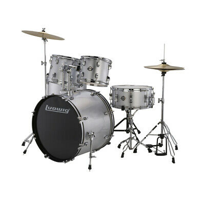 Ludwig 5 Piece Accent 5-Piece Drive Drum Set in Silver Foil
