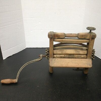 Antique Primitive Wooden Mangle Clothes wringer late 1800-Early 1900