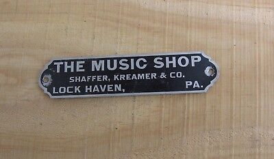 Antique Shaffer Kreamer Co Music Shop~Lock Haven Pennsylvania Sellers Plate u