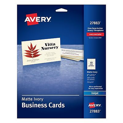 New Avery Ivory Matte Business 100 Cards 2 x 3.5 Inches (27883) Card Stock Paper