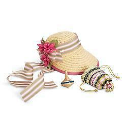 New In Box American Girl Doll Caroline's Accessories Straw Bonnet Purse Retired