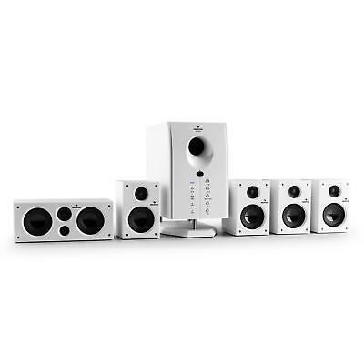 Home Cinema Enceinte 5.1 Active Subwoofer AUX Blanc 5 Statellites Surround Audio