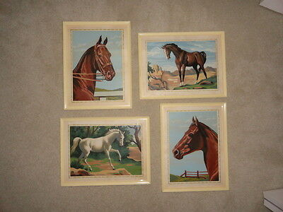 Vintage Lot of 4 PBN Paint By Number Horse Paintings Pictures w/ Bakelite Frames