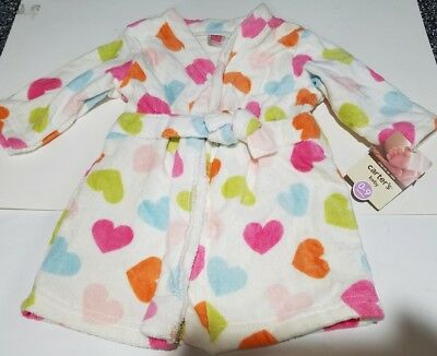 Infant Girls Carters Baby Brand White Wrap me up Robe with colorful hearts 0-9M