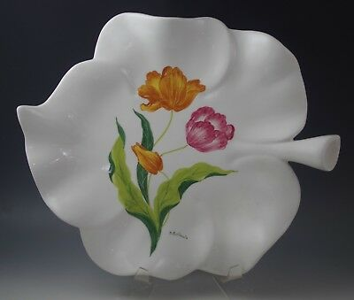 Vintage Italy Hand Painted Large White Ceramic Tray- Platter -Tulips