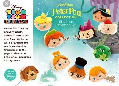 "Disney Store Authentic Peter Pan Plush 3.5"" Tsum Tsum Complete Set of 10 NWT New"
