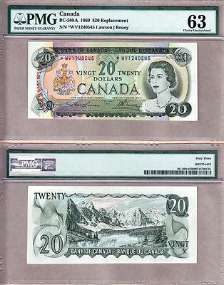 NO RESERVE AUCTION: *WV Replacement BC-50bA 1969 $20 Bank of Canada. PMG CHUNC63