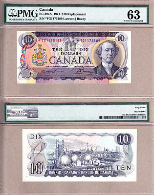 NO RESERVE AUCTION 1971 $10 *TG Replacement Bank of Canada; PMG CH UNC63 BC-49cA