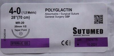 SUTUMED POLYGLACTIN 4-0, 1/2 20mm Taper Point Surgical Suture