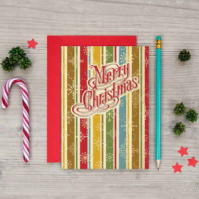 Retro Vintage Style Christmas Cards ~ Classic Vintage Merry Christmas Card