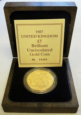 1987 Gold Great Britain 5 Pounds St. George Coin Mint State Box & Coa
