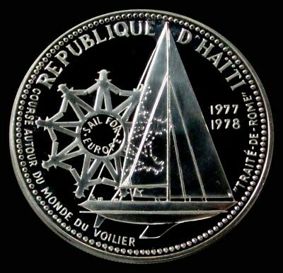 1977 Silver Haiti Proof 100 Gourdes Sailboat Rare Only 214 Minted