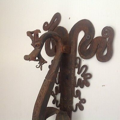 Fantastic Antique French Hand Wrought Iron Dragon Door Knocker