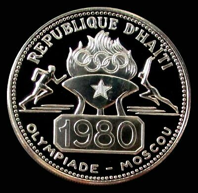 1977 Silver Haiti Proof 50 Gourdes 1980 Moscow Olympics Coin