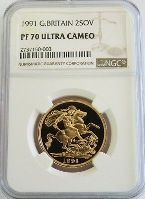 1991 Gold Great Britain 2 Pounds Coin Ngc Perfect Proof 70 Ultra Cameo