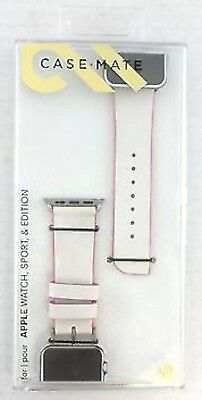 NEW Case-Mate 38mm Edged LEATHER Apple Watch 1/2/3 Wrist Band White Ivory Pink
