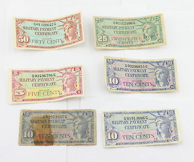 Rare Group Of **6** Series 591 U.s. Military Payment Certificates No Reserve