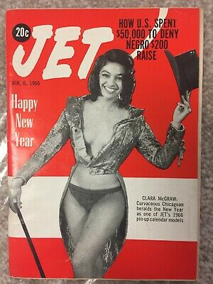JET MAGAZINE 1/6/1966 CLARA MCGRAW PIN-UP CALENDAR US denies Negro $200 raise