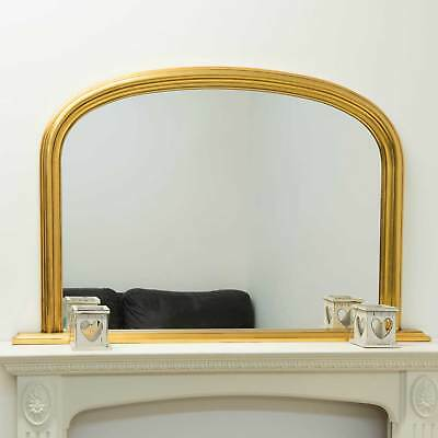 Large Gold Over Mantle Overmantle Wood Wall Mirror 4Ft X 2Ft7 120cm X 79cm