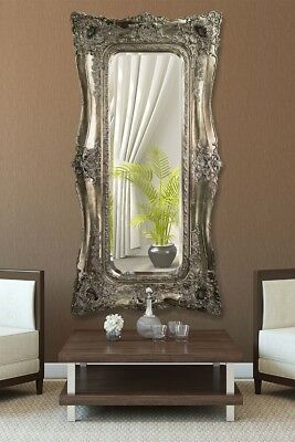 Extra Large Very Ornate Full Length Antique Silver Wall Mirror 6ft x 3ft