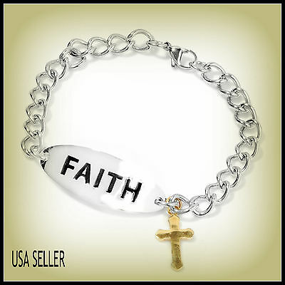 """Faith Bracelet with Cross Charm (6.50-8.50"""")  ION Plated YG and Stainless Steel"""