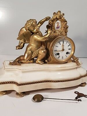 Stunning Bronze Ormolu and Marble Japy Freres Mantel Clock