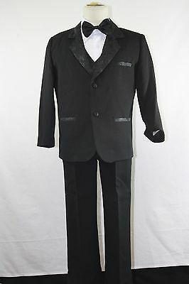 Boy Formal Black Tuxedo for Kids of All Ages with Black Bow Tie