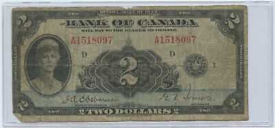 1935 Bank of Canada English $2 Banknote Osbourne & Towers Signatures