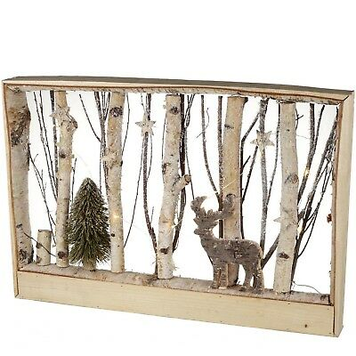 PARLANE CHRISTMAS WOOD WINTER SCENE DEER STAR TREE LED LIGHT UP 38 x 58CM RP £45