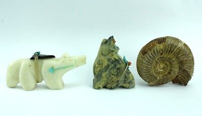 Lot of 3 Native American Indian Hand Carved Stone Inlaid Wolf Fetishes NR TLL