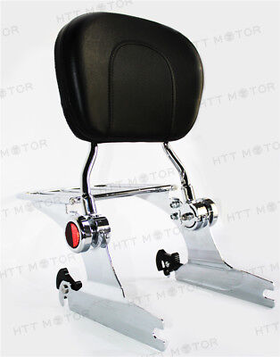 Adjustable Backrest Sissy Bar Luggage rack Reflector For Harley 06-laterSoftail