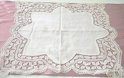 Spectacular Vintage Antique Hand Made Brussels Lace Wedding Hanky Tt314