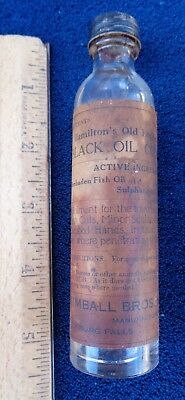 ANTIQUE Hamilton's Black Oil  medicine Bottle with Paper Label SCREW CAP STAINED