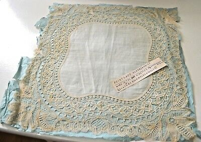 Exquisite 19Th C. Brussels Point Lace Wedding Hanky Tt310