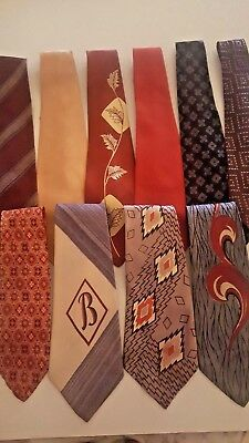 LOT 10 Vintage Swing Neckties 1940'S 50'S 30's  Multicolor Retro Tie