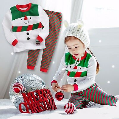 "Vaenait Baby Kids Boys Girls Christmas Clothes Pajama Set ""Snow Carol"" 12M-7T"
