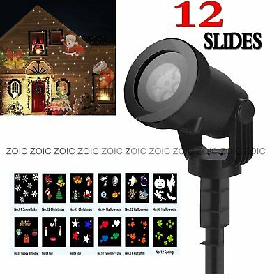 12 Switchable Slides LED Projector Christmas Xmas Party Light Outdoor Stage Lamp