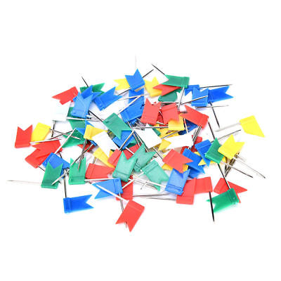 100pcs Flag Marker Shape Map Pins Cork Notice Board Push Pin  Office Home WL